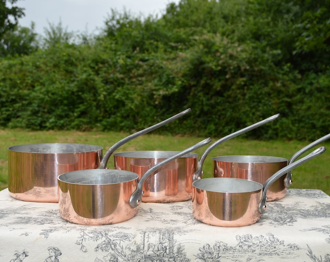 SERIE SPECIALE Five Vintage French Copper Professional Graduated Pans Cast Iron Handles Tin Lined Serie Speciale 12cm-20cm 14lbs 6.5 k