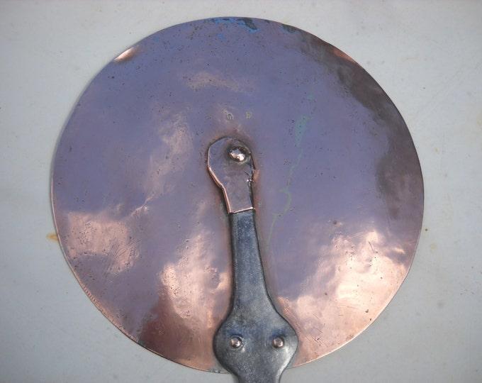 Copper Antique French Copper Lid 21 cm 8.25 inch 625g 1lb 6 ozs Splash Lid Copper Rivets Cast Iron Handle Normandy Kitchen