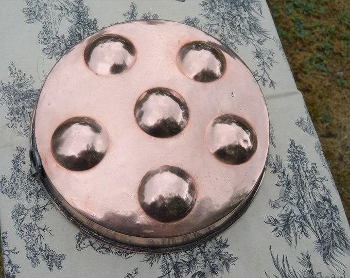 "Copper Pan French Copper Au Gratin Apple Pan Egg Pan Shellfish Vintage Copper Dish Round 29cm 11 1/4"" Copper Pan Roasting Pan"