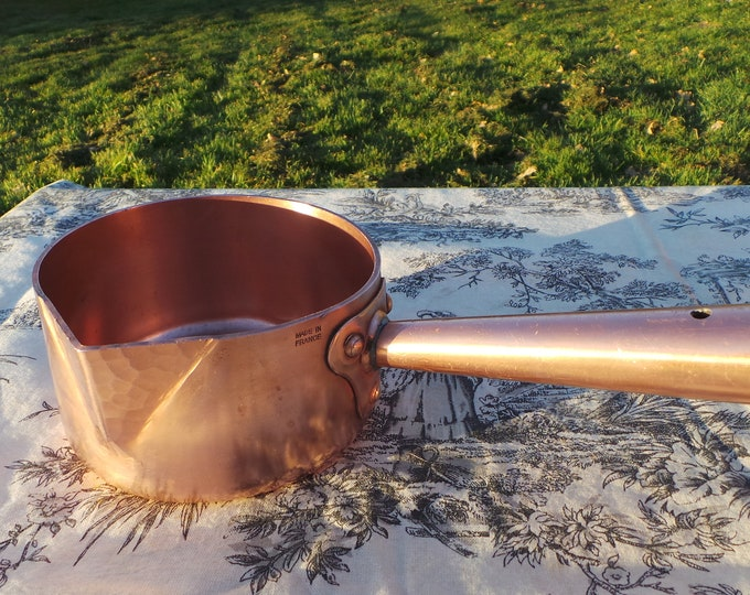 Antique Copper Sugar Pan 2.2mm Hollow Handle Super Traditional Spout Heritage Sugar Candy Toffee Pan Fabulous Patina Proper Patissier Pan