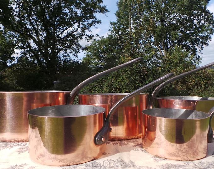 Jean Matillon of Villedieu Copper Pans Set Five Vintage French Made in France 1.6-2.3mm Copper Graduated Pans Cast Iron Handles Good Tin