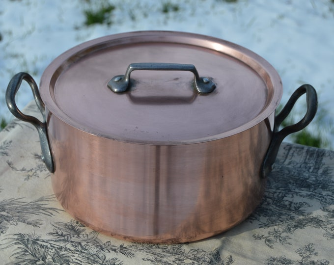 "Vintage Copper Pan Pot Lid 2.7mm 26cm 10 1/4"" 4.75K 10 lbs 8ozs Copper Faitout Marmite Rondeau French Big Pot Made in France Nickel Lined"