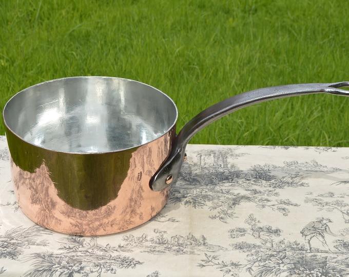 """Antique French Copper Pan Personne Paris Professional Sauce Pan BIG Paris 26cm 10 1/4"""" Iron Handle New Atelier du Cuivre Tin Lined 2.8 mm"""