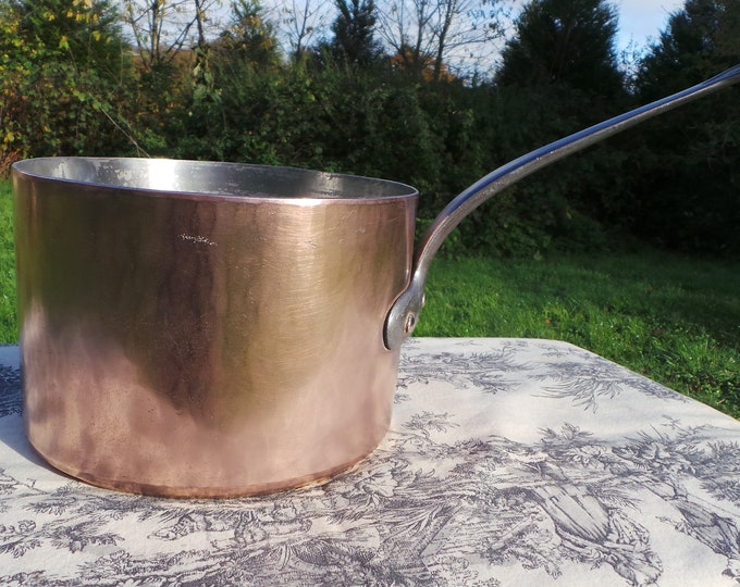 "Copper Pan 2.7mm 21cm 8 1/4"" Pan Antique Copper Saucepan Artisan Maker Hotel Ware Pot Fabulous High Pan Good Old Stockpot"
