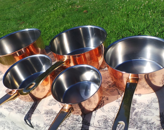 Set of Five Vintage French Stainless Steel + Copper Clad Professional Graduated Quality Pans Cast Brass Handles Normandy Kitchen Copper 3630