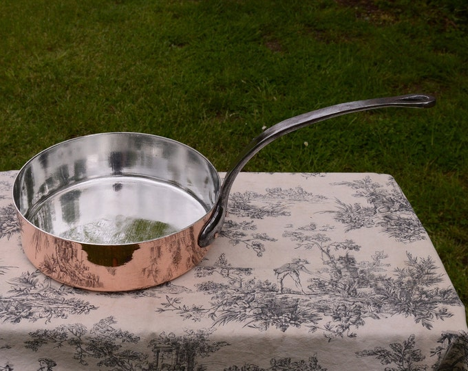"2.6mm Copper Frying Pan Saute Skillet Copper Pan New Atelier du Cuivre Tin Fry Vintage French Copper Good Condition 28 cm 11"""