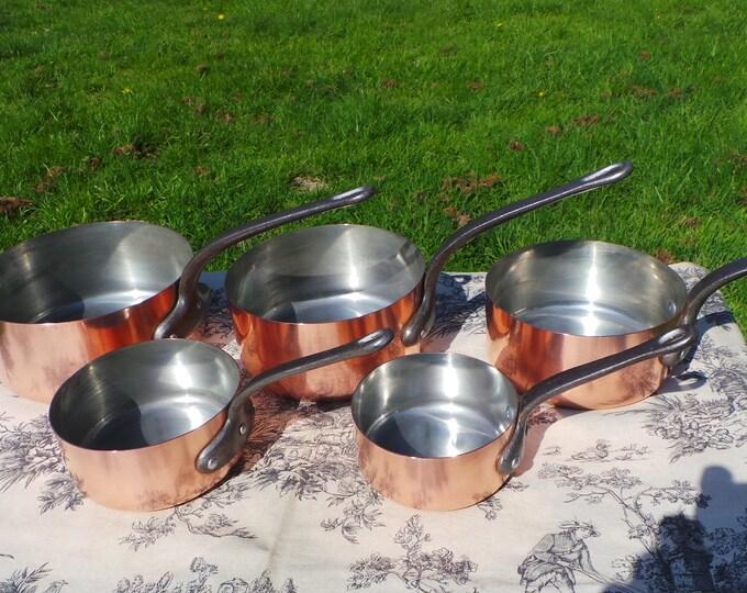 Copper Pans Set of Five Vintage French Copper 1mm Graduated Pans Cast Iron Handles Good Seasoned Tin Normandy Kitchen Vintage Interiors