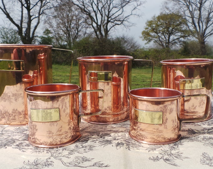 Copper Pitchers Vintage French Copper Set Five Graduated Copper Mugs Cups Tankards Copper Handles Decorative Set Refurbished Polished