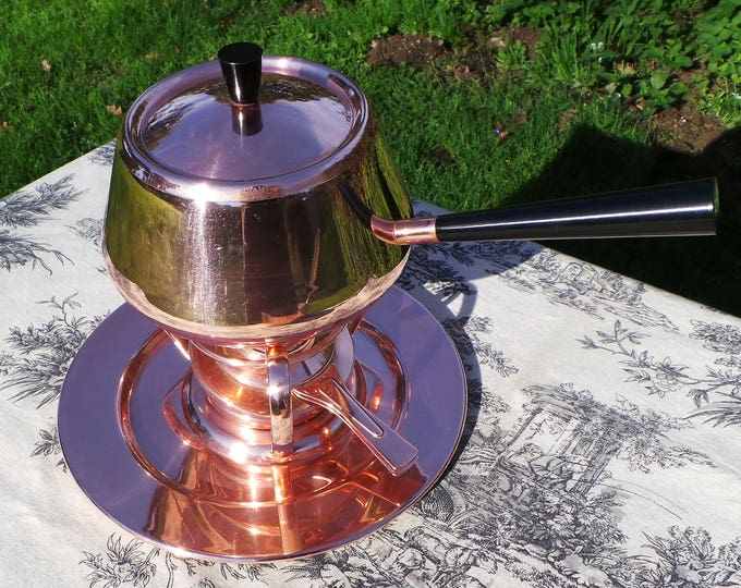 Copper Fondue Pan Vintage Spring Culinox Made in Switzerland Chauffe Aliments Food Warmer Chafing Serving Dish Burner Copper Pan Never Used