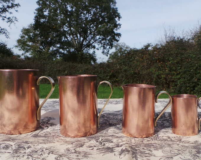 Vintage French Copper Set Four Graduated Pitchers Jugs Small Casr Brass Handles Pouring Spouts Good Heavy Set Good Patina Normandy Kitchen