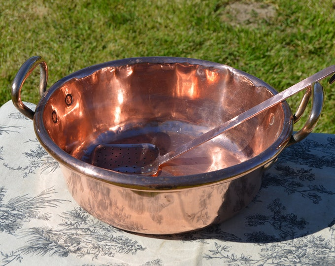 "Copper Pan Jam Pan + Utensil French Copper Jam Jelly Candy Confiture Pot Cast Bronze Handles Ecumoire 41cm 16"" Antique Well Used Classic Pan"