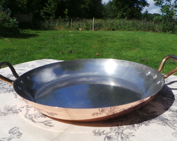 Gratin Pan Atelier du Cuivre 1.1mm Copper Oven Dish Frying Sauté Skillet Vintage French Copper As New Tin Lining Never Used Vintage