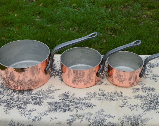 Gaillard of Paris Three Pan Set Copper Pan Stamped 18cm, 14cm and 12cm Vintage French Saucepans 2.3-3mm Cast Iron Handles