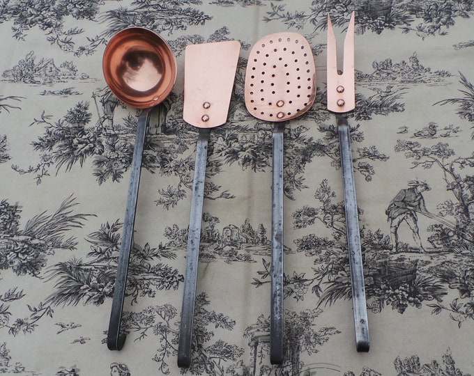 Kitchen Utensils Quality Vintage French Copper Hand Made Finished Good Set of Four Copper Kitchen Utensils Magnificent Set Iron Handles