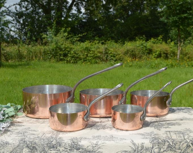 Fabrication Francaise Five 0.8-0.9mm Vintage French Copper Set Five Graduated French Vintage Tin Lined Copper Pans Set 10cm-18cm