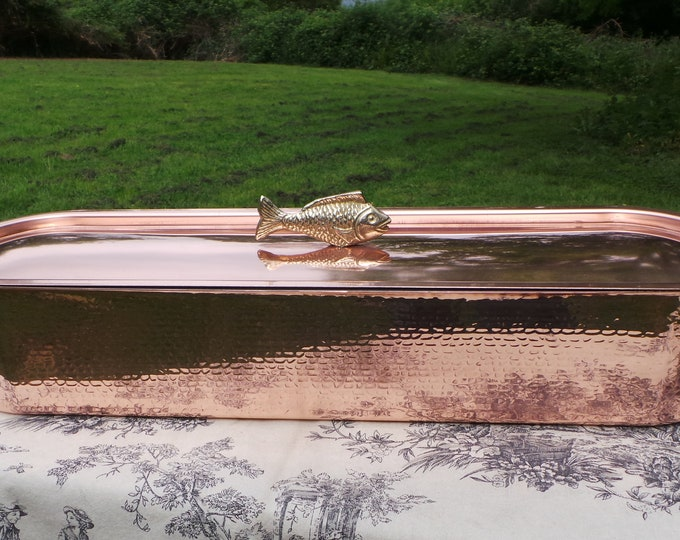Vintage French Copper Solid Copper and Cast Bronze Fish Kettle Fish Poacher with Insert Tray Fish Steamer Solid Copper with Fish Handle