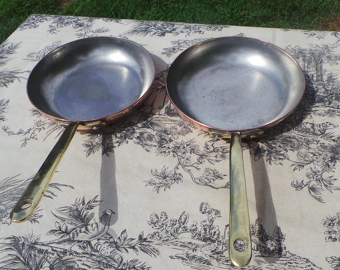 Pair Saute Pans Vintage French Copper Sauce Pans Cast Bronze Handle Old Tin Smashing Pair 15.5cm Two Small Sautes Ideal Flippers Well Used