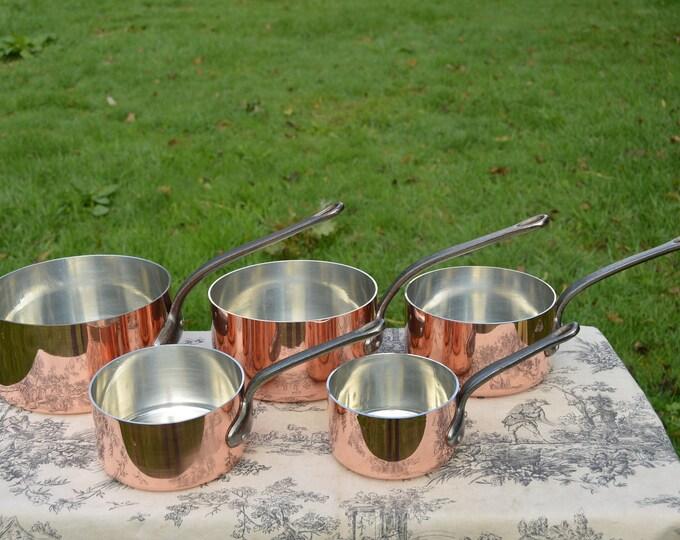 Copper Pans Havard of Villedieu Tin Lined Copper Five 2 -2.1mm Vintage French Professional Villedieu Graduated Pots Beautiful Vintage Set