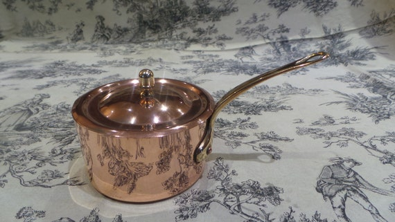 Copper 1mm Vintage French Fully Lined Cast Bronze Handle ML of Villedieu Marked Beautiful Copper Pan with Lid Oven to Table Copper
