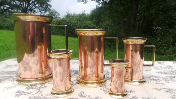 Copper Pitchers Vintage French Copper Set Five Heavy Graduated Copper Mugs Cups Tankards Copper Handles Good Useful Set Polished