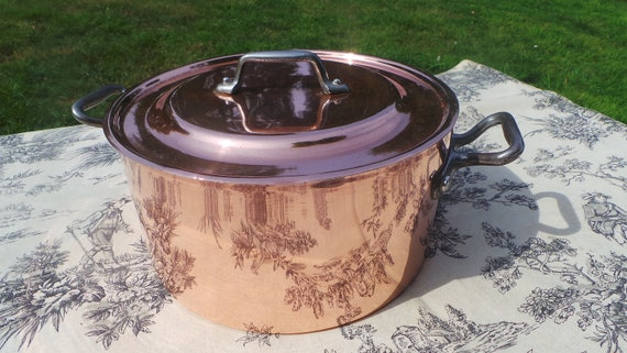 Vintage French Copper Clad Cast Bronze/Brass Casserole Dutch Oven Braiser Roasting Dish Beautiful Bronze Copper Clad Pan Normandy Kitchen