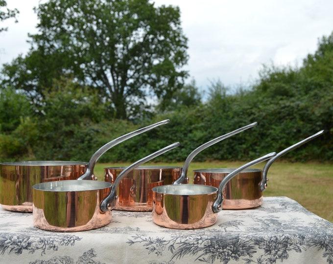 Vintage Copper Pans New Villedieu Tin Lined Copper Five 1.3 -1.9mm French Copper Professional Villedieu Graduated Pots Huge Copper Rivets