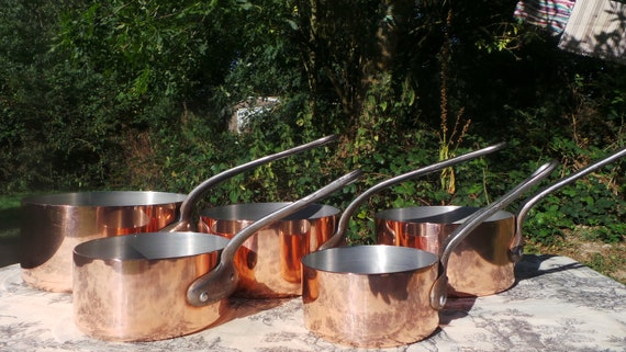 Copper Pans Villedieu Lined Copper Five 1.7-2.0mm Vintage French Copper Professional Villedieu Graduated Pots Normandy Kitchen Copper