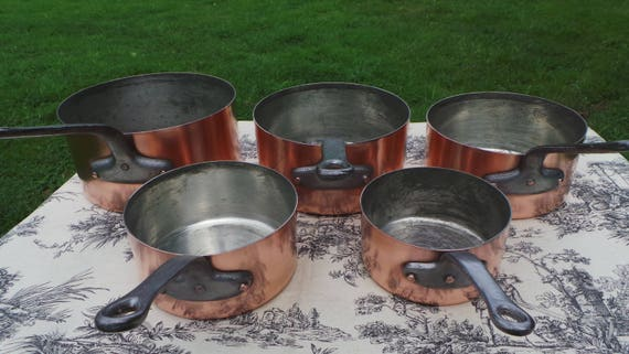 Copper Pans 1.3mm-1.5mm Vintage French Copper Set Five Graduated French Vintage Fabulous Manufacture Larger Set 14cm - 22 cm 5768