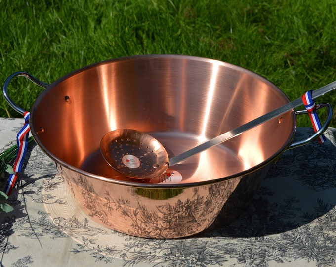New NKC 38 cm Copper Jam Pan with Skimmer Normandy Kitchen Copper Jam Jelly Pan 38cm 15 Inch Rolled Top Stainless Handles Normandy Kitchen