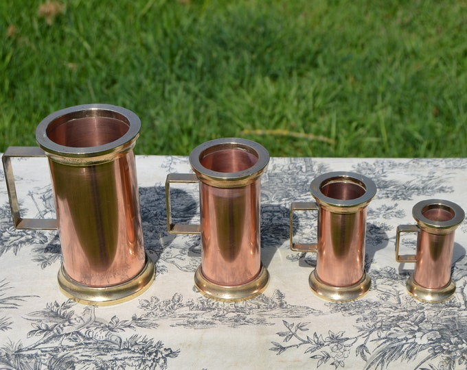 Vintage Copper Pitchers French Copper Set Four Heavy Graduated Copper Mugs Cups Tankards Copper Handles Good Useful Set Polished