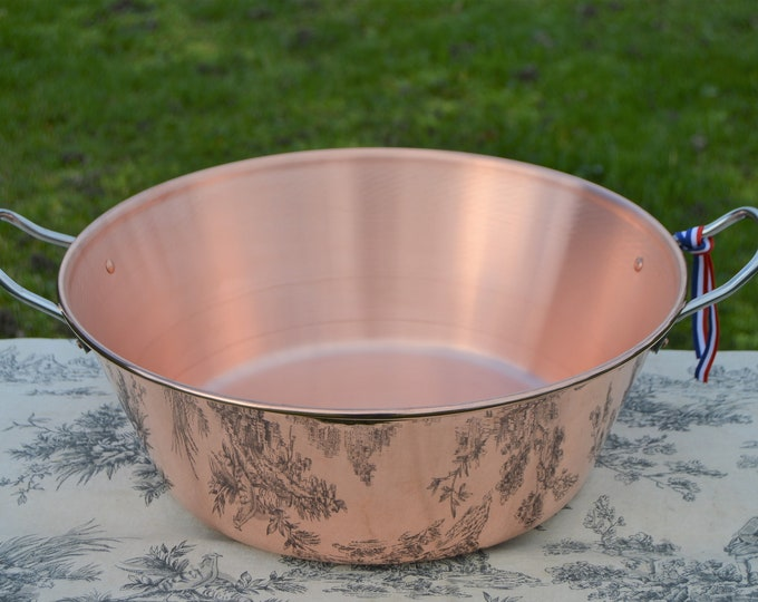 New NKC 38 cm Copper Jam Pan from Normandy Kitchen Copper Jam Jelly Pan 38cm 15 Inch Rolled Top Stainless Handles New Normandy Kitchen NKC