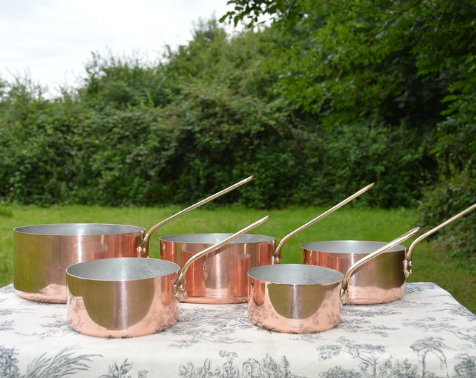 Vintage Copper Pans Made in France Set Five French 1.3-1.9mm Copper Graduated Pans Bronze Handles Refurbished Tin Perfect Balance Villedieu