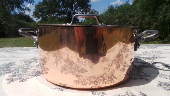 Metaux Ouvres Copper Casserole Faitout Oval Pot French Copper Casserole Lid 2mm 20cm 8 Inch Good Condition Vintage Copper Pan Great Interior