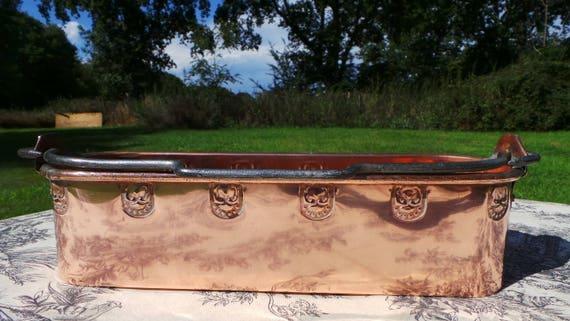Copper Pan Antique Minature Fish Kettle Repousse Art Deco Design Decoration Quality Early 1900s Souvenir Ware Condiment Container