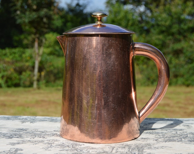 French Antique Copper Normandy Coffee Pot with Copper Handle and Brass Finial Fittings Normandy Kitchen Copper Coffee Pot Heavy Solid Pot