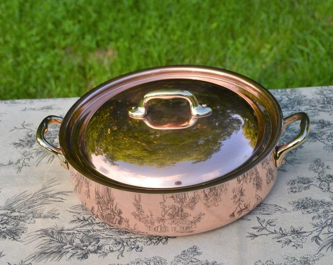 """Vintage Copper Rondeau Pan Saute Casserole New Tin Villedieu Made Vintage Copper Pot Rondeau Dutch Oven Lid 1.7mm Round 24cm 9 1/2"""" Bronze"""