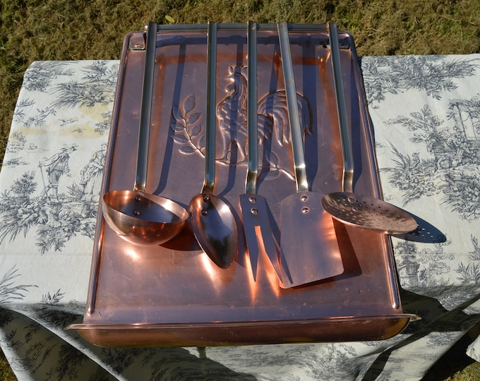 Vintage Copper Utensils Cockerel Drainer French Copper Bronze and Copper Kitchen Utensils Hanging Rail Drip Tray Egouttoir a Cuilleres