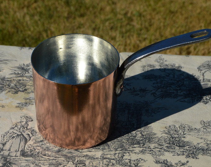 Antique French Copper Pan New Tin Tall Professional Chef Pâtissier 1.5mm Refurbished New Villedieu Tin Cast Iron Handle Normandy Kitchen