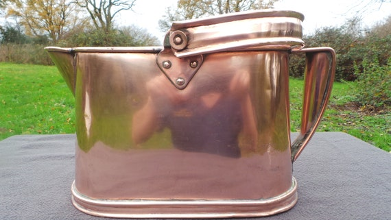 Antique English Solid Copper Kettle Hot Water Birmingham UK Echauffoir Copper Jug Pitcher Hand Made Copper Pot 19th Century Ancient Copper