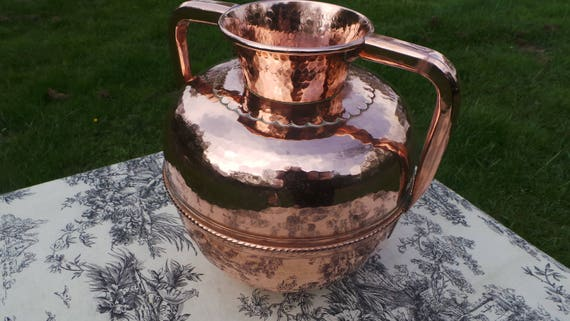 Villedieu Canne A Lait Vintage French Big Copper Milk Jug Container Copper Pitcher Solid Copper Hand Made Dented Normandie Canne a Lait
