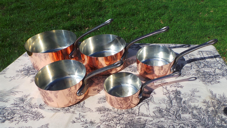 Les Cuivres De Faucogney Copper Pans Set Of Five Vintage