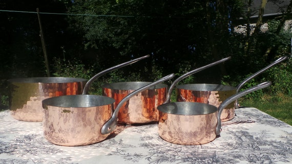 Copper Pans L Lecellier Hammered Tin Lined Vintage French Copper Professional 1.8-2.1mm Cast Iron Handles