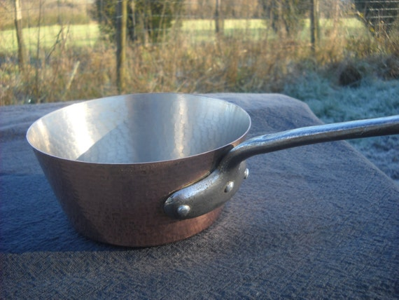 Tupperware Hammered Vintage French Solid Copper Windsor Saute Pan, Cast Iron Handle Fully Tin Lined French