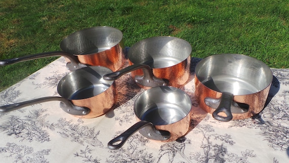 Vintage French Copper Pans Good Tin Refurbished 1mm Set Five Graduated French Copper Pans Real Quality Hammered Bodies Exceptional Condition