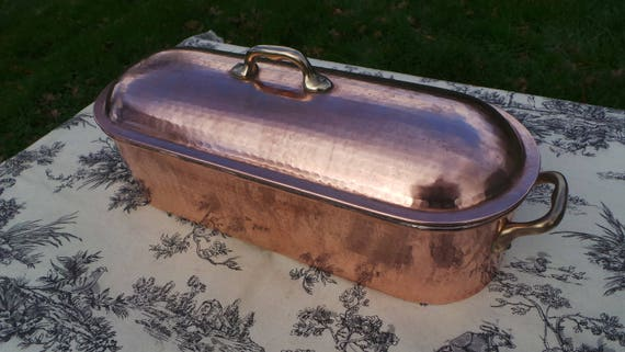 Solid Copper Fish Kettle Large Vintage French Copper Bronze Fish Poacher Insert Tray Fish Steamer Solid Copper Domed Poissoniere Truitiere