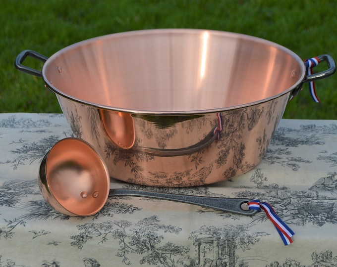 New NKC 38cm Copper Jam Pan + Ladle from Normandy Kitchen Copper Jam Jelly Pot 15 Inch Rolled Top Iron Handles New Normandy Kitchen 38 cm