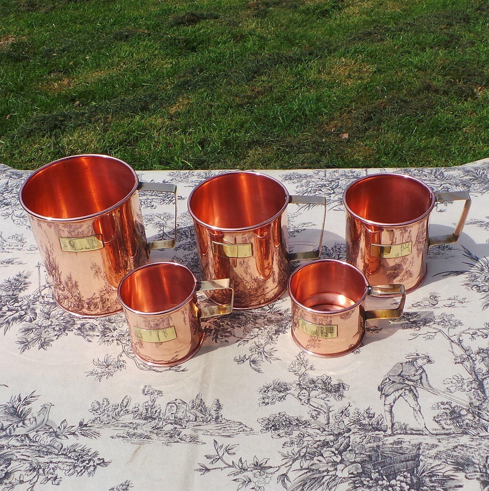 Copper Pitchers Vintage French Copper Set Five Graduated Copper Mugs Cups Tankards Copper