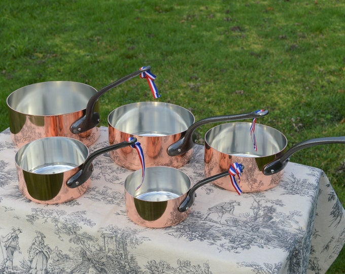 New NKC Copper Pans Professional Grade New Set of Graduated 12cm-20cm 1.4-1.7mm Tin Lined Copper Saucepans Iron Handles Steel Rivets By NKC