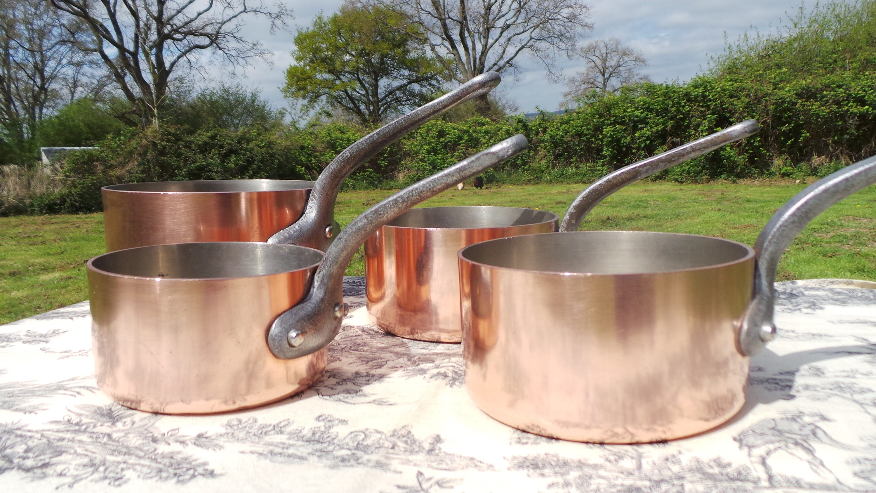 Four 3 Mm Copper Pans Vintage French Copper Professional