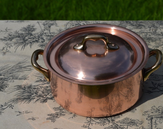 "Vintage French Copper Pan Pot Dutch Oven Casserole Lid 1.7mm Made in France Faitout Round Pot 16cm 6 1/4""  Copper Kitchen Casserole Good Tin"
